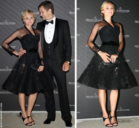 Vestido negro complementos dorados